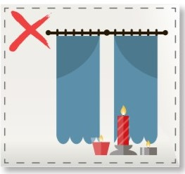 Candle safety keep away from curtains