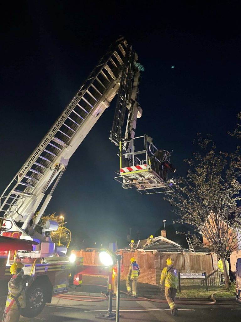 Firefighters used an aerial ladder platform to tackle a house fire in Cowplain